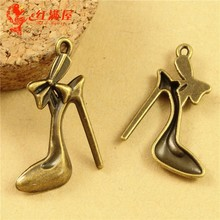 27*19MM Antique Bronze Retro high-heeled shoes charm pendant beads, DIY jewelry accessories wholesale lady's high heels charm(China)