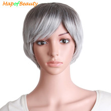 MapofBeauty Short Curly Hair Natural Elderly Women's Wig White Black Synthetic Wigs For Women Heat Resistant Female Fake(China)