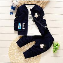 2017 Boys Clothes Suits Cartoon Mickey Minnie Baby Kids Boys Outerwear Hoodie Jacket Baby Sport Boys Clothing Sets 3 pcs