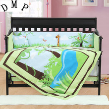 4PCS embroidered crib quilt baby cot sets baby boys bedding sheet crib pillow animal duvets,include(bumper+duvet+sheet+pillow)(China)