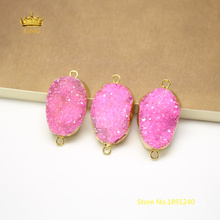 5pcs Thick 10-14mm Druzy Charms Bracelet,Pink Drusy Quartz with Gold Copper Edged Raw Crystals Slab Connectors Jewelry GH192(China)