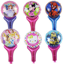 100pcs Mix Cartoon Hand Hold Foil Balloon 50*30cm Kids Party Cheering Stick Balloon Cheap and Beautiful Printed Globos(China)