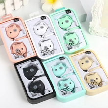 Candy Color Cute Cartoon Little Cat 3.5mm Stereo Ear Hook Sport Earphone With Microphone Kawaii Earbud For Phone MP3 With Mic
