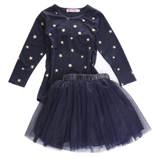 Pudcoco Baby Girl Clothes Spring Fall Long Sleeve Star Print Tunic Tulle Skirts With Bow tie