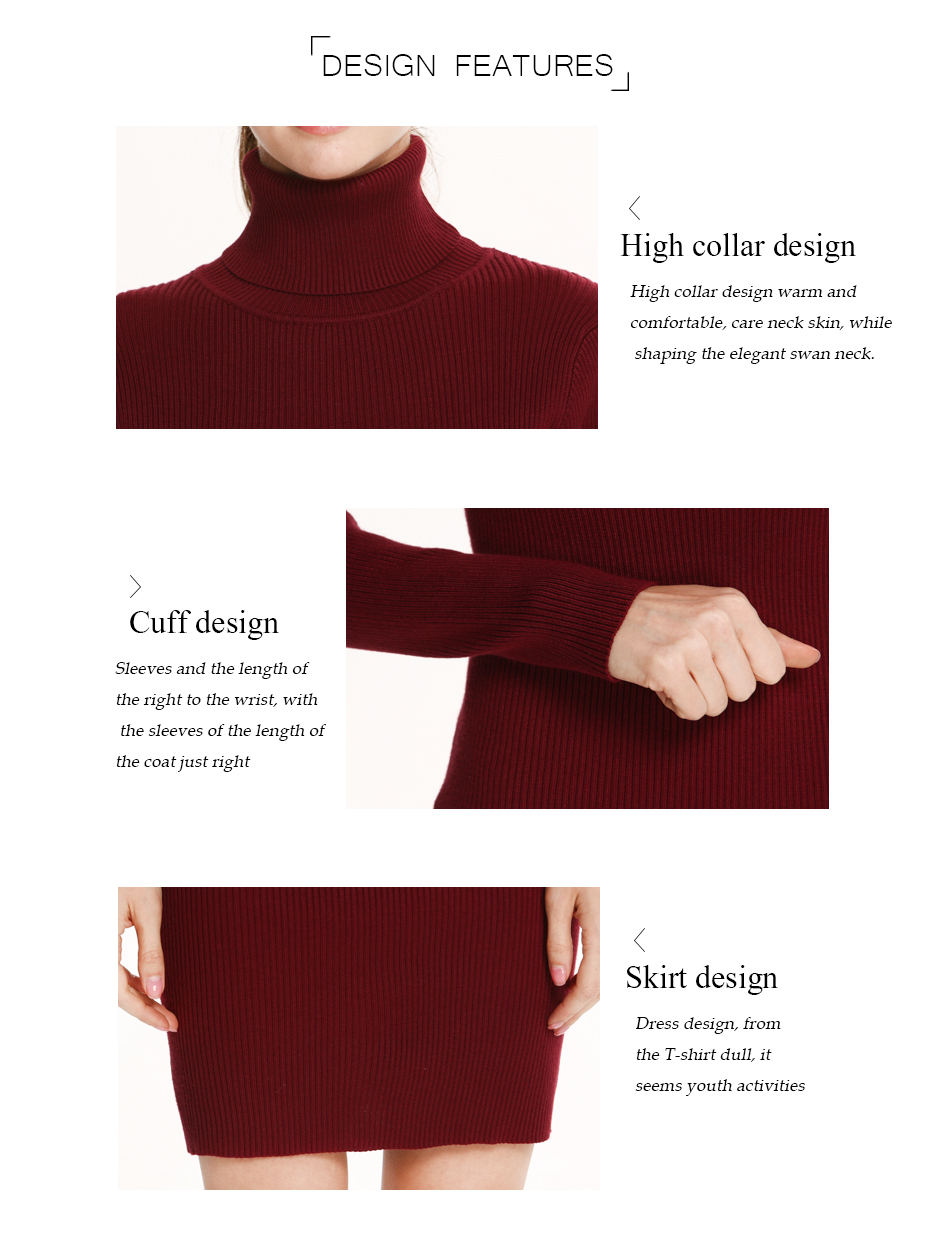 17 Winter High Collar Pullover Sweater Women Dress Slim Simple Sweaters pullovers long sleeve Dresses Package Hip Bottoming 5