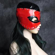 PVC Leather Wet Look Mistress Hood Devil Mask with Black and Red Lined with Shining Rivets Fetish Halloween Costumes(China)