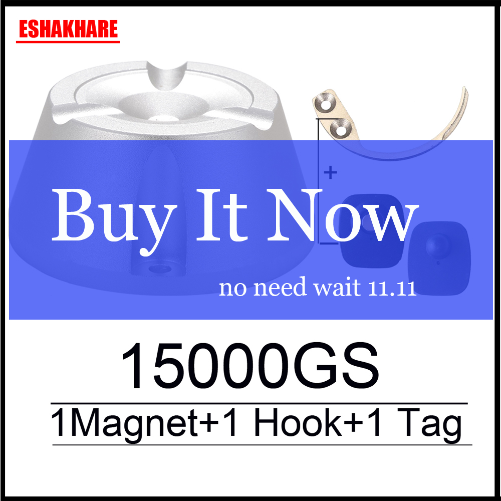 cloth alarm detacher 15000GS magnetic sensor tag detacher eas security tag remover&1 key hook detacher free shipping(China)