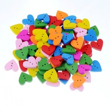 Free shipping 50pcs Random Mixed Color Wood Buttons 2 Holes Heart Shape Sewing Scrapbooking 18x17mm F1034