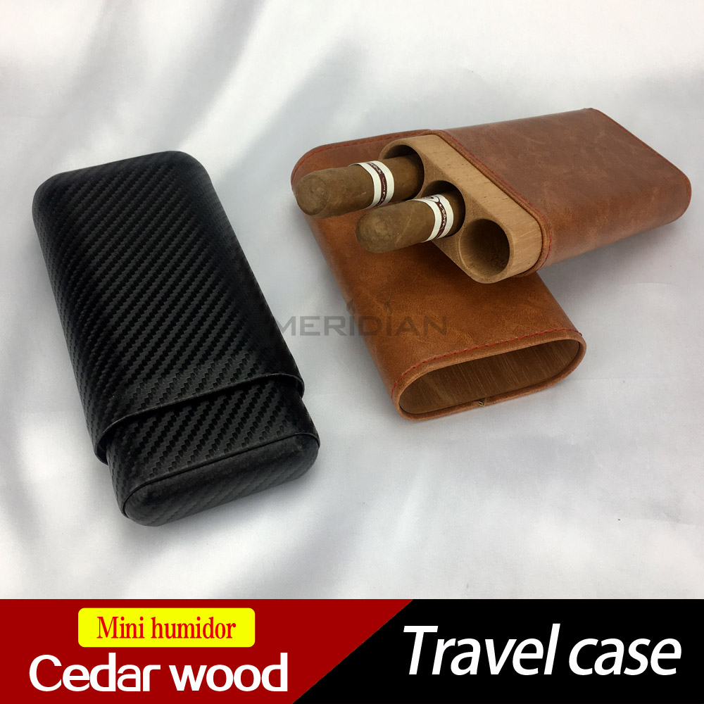 COHIBA Cigar Humidor mini Travel case 3 cigars holder Spain cedar wood made with PU leather wrapped-High quality<br>