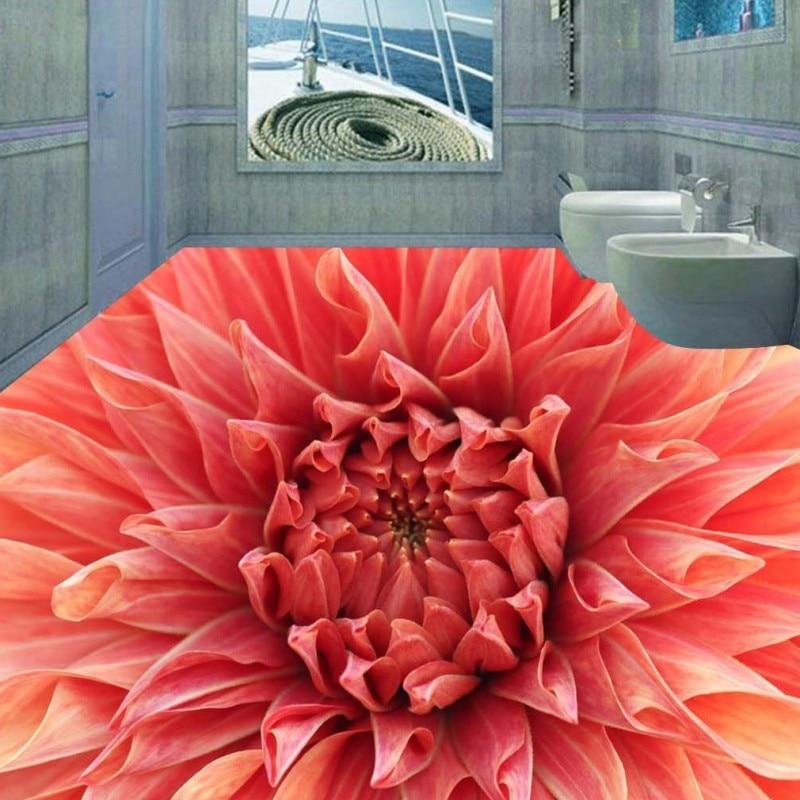 Free Shipping 3D flooring blooming flowers picture waterproof hallway self-adhesive aisle floor wallpaper mural<br>