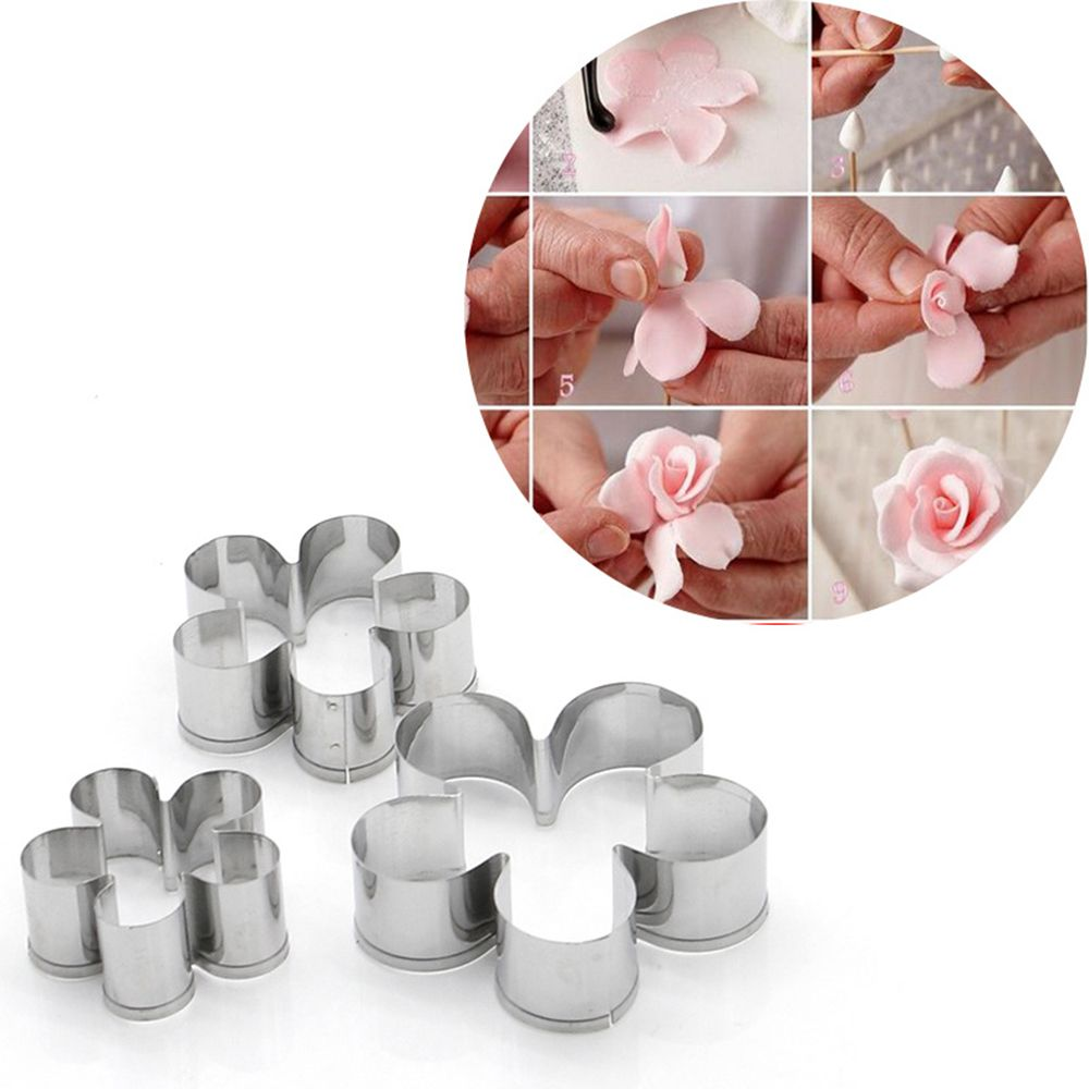 3pc Baking Fondant Presses 3 Polymer Clay Mini Flowers Cookie Cutters