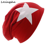 LOVINGSHA Brand Autumn And Winter Hats For Women Big Star Design Ladies thin hat Skullies And Beanies Men Hat Unisex HT002(China)