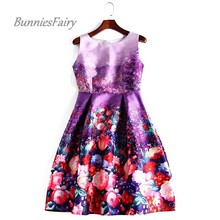 BunniesFairy 2017 Spring New Vintage Retro Style Romantic Lavender Flower Floral Print High Waist Purple Dress for Party Wear
