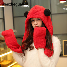 Womens panda hat fur hood scarf Mens Hat Ear Flaps Hand Pockets Hat Panda Plush Winter Warm Cap with Long Scarf Mittens Gloves(China)