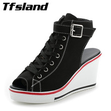 Buy Tfsland Women Buckles Peep Toe Wedge Platform Canvas Shoes Sexy Female Summer Lace High Heels Sandals Walking Shoes Sneakers for $26.28 in AliExpress store
