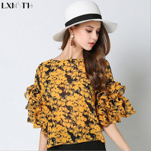 New Arrival Women Half Sleeve Chiffon Blouse Summer 2017 Flare Sleeve Shirt Round Neck Ruffles Ladies Flower Blouses Loose Tops(China)