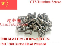 Titanium screw M3X8 ISO 7380 Button Head  Hex 2.0 Driver Polished