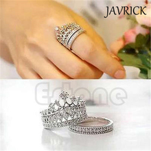 JAVRICK Fashion Chic Women White Gem Crown Wedding Band Ring Set Size 5-8 ZB380