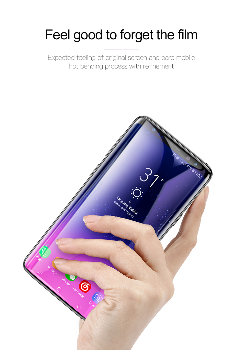 5D (3D) Curved Full Cover Tempered Glass For Samsung S9 Plus Screen Protector On The For Samsung Galaxy S9 + Plus Glass Film