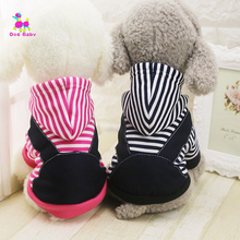 Dogbaby Pet Dog Yorkshire Terrier Clothes Winter New Warm Dogs Costume Cute stripe Puppy Hoodie Coat Clothing for Small Dogs SG3(China)