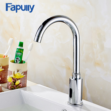 Fapully Chrome Bathroom Basin Faucet Infrared Sense Water Faucet Automatic Hands Touch Free Sensor Faucet Bathroom Sink Tap(China)