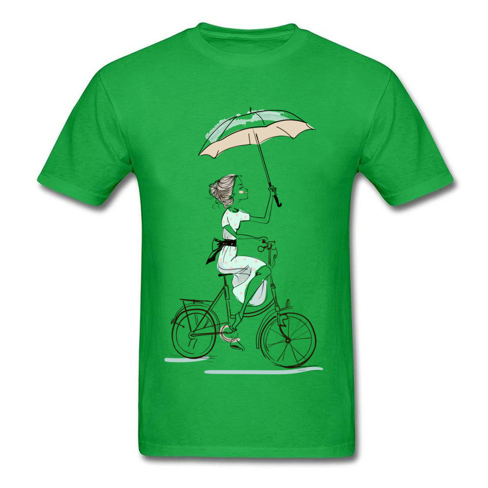umbrellas girl riding a bicycle Fitted Men T Shirts Crewneck Short Sleeve All Cotton Tops & Tees Fitness Tight Tees umbrellas girl riding a bicycle green