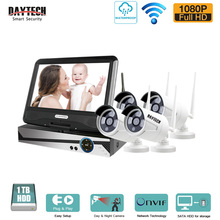 DAYTECH 1080P Network NVR Kit CCTV Securtiy System 2.0MP LCD Display Monitor Wireless WiFi Surveillance Camera System 4CH(China)