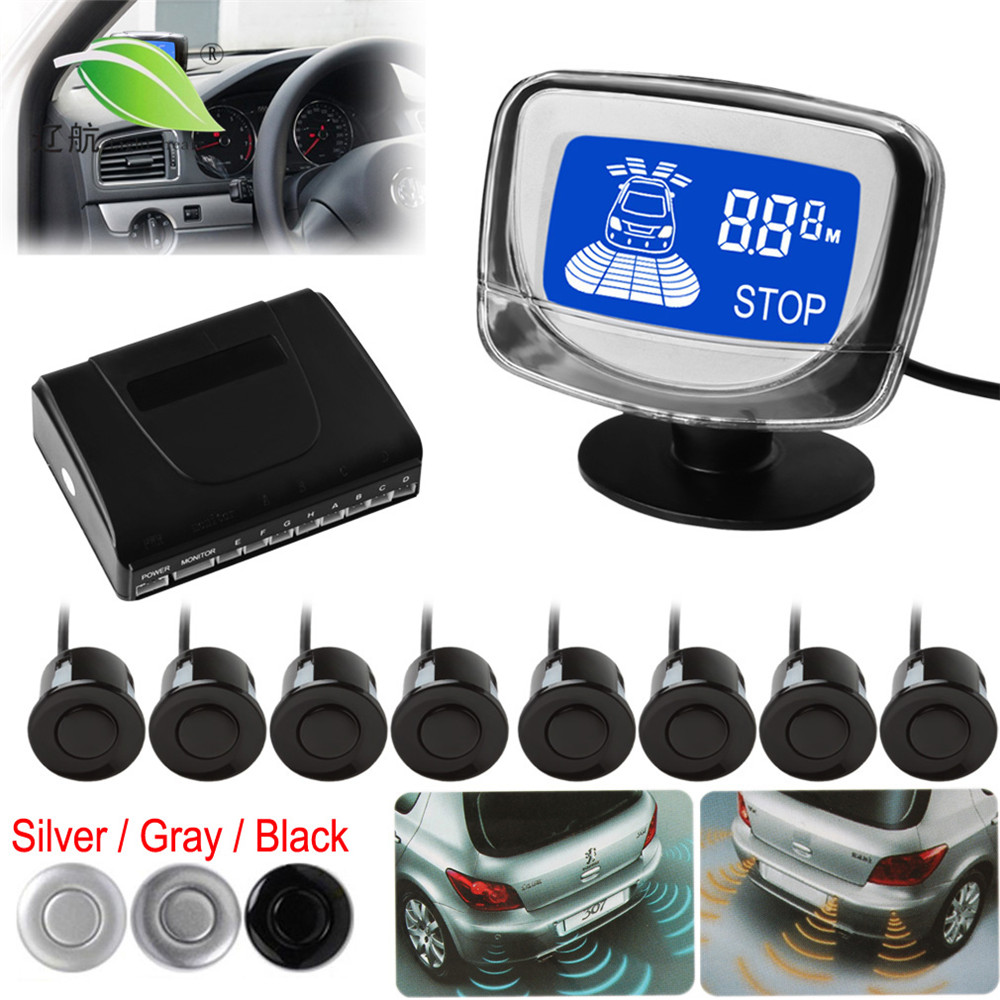 Light heart Waterproof 8 Rear and Front View Car Parking Sensors with Display Monitor - 3 Optional Colors<br>
