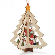 Cartoon Wooden Christmas Tree Decoration Christmas Gift Ornament Table Desk Decoration