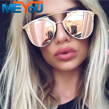 MEYOU Classic Brand Designer Cat Eye Sunglasses Women Fashion Rose Gold Pink Mirror Retro Sun Glasses Vintage Shades oculos