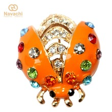 Navachi Multi-color Crystal Yellow GP Ladybug Yellow Enamel Beetle Bug Brooch Pin SMT7066(China)