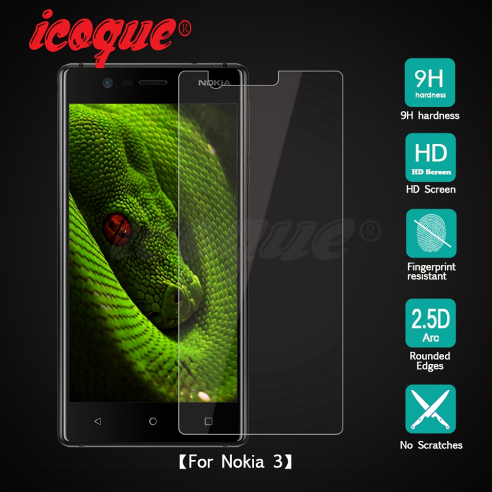 Icoque 9H 2.5D Glass for Nokia 3 Screen Protector Glass Display Film for Nokia3 Nokia 6 7 8 5 2 Nokia 3 Tempered Glass Protector