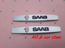 2PCS Free shipping SAAB Car Fender side Badge Decal rear bumper trunk Sticker Car style for Saab 9-3 9-5 93 95(China)