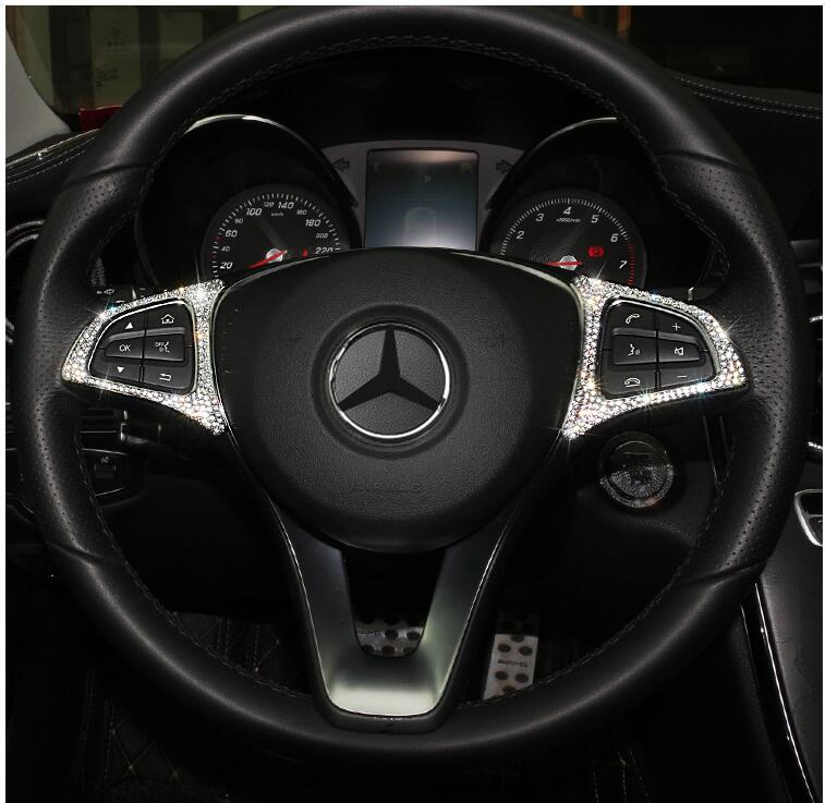 Steering Wheel Button Silver Trim For Mercedes Benz GLE GLS A B GLA CLS Class B//