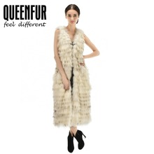 QUEENFUR Genuine Raccoon Fur Vest Long Style Real Raccoon Fur Gilet 2017 Fashion Winter Warm Natural Fur Sleeveless Coat Outwear