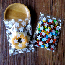 100pcs  White Stars Accessories Cookies Cellophane Favor Bags, Self Seal Party Packaging, Mini Gift Packing Bags