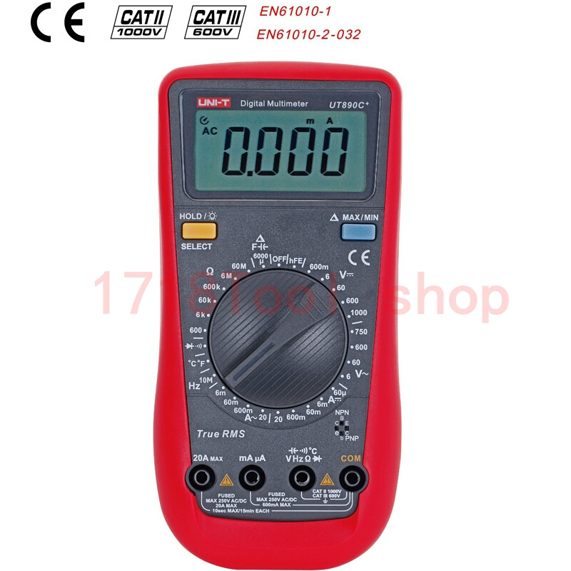 UNI-T Digital Multimeter UT890C+ with 100mF Capacity True RMS  Freq Multi Meter Diode Tester with temp measurement<br><br>Aliexpress