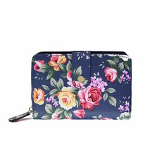 Miss Lulu Women Flower Vintage Matte Oilcloth Small Short Coin Purse Wallet Clutch Hand Bag Navy 1689