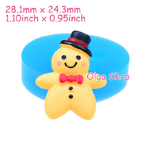 QYL106 28.1mm Christmas Gingerbread Man Silicone Mold - for Sugarcraft Fondant, Cake Decoration, Chocolate, Cookie Biscuit Resin