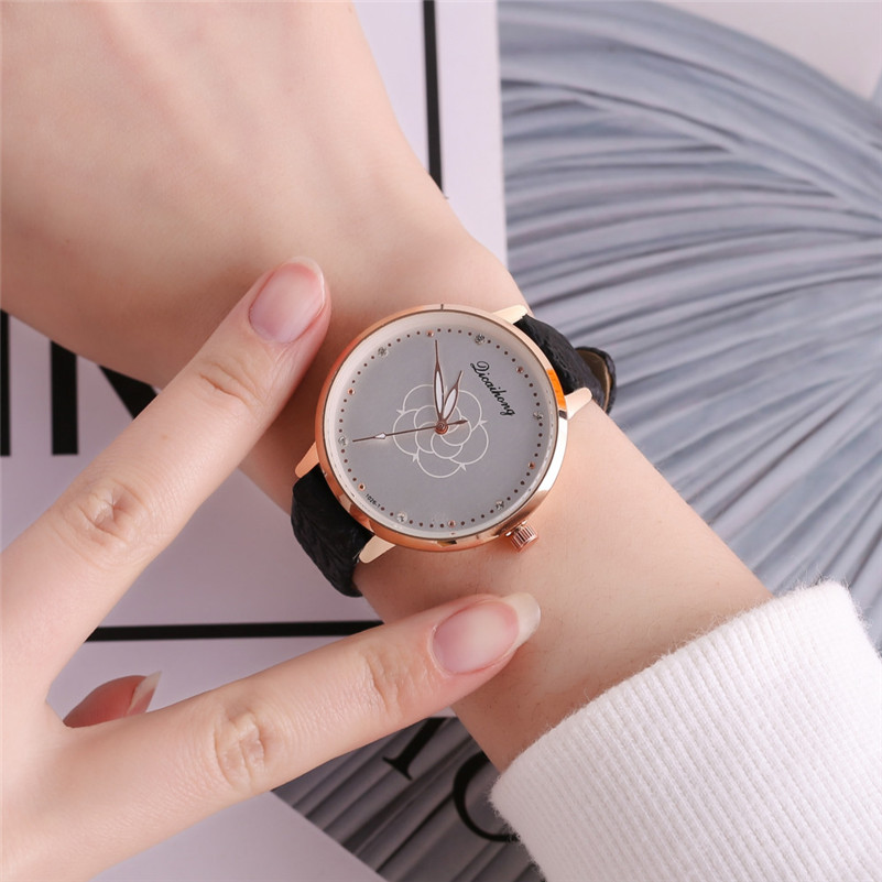 High Quality women fashion casual watch luxury dress ladies Leather Band Analog Quartz Round Wrist Watch clock bracelet M21 (23)