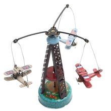 New Vintage Wind Up Rotating Airplane Carousel Clockwork Toy Collectible Gift