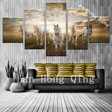 high quality wild horse  5 pieces canvas painting poster for bedroom wall decoration oil painting on canvas wall pictures