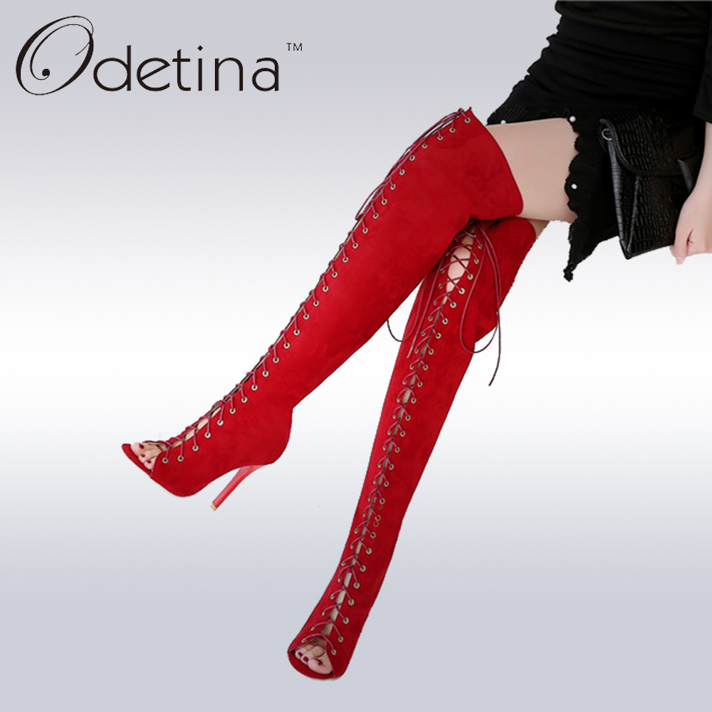 Odetina 2017 Fashion Sexy Red Peep Toe Summer Thigh High Boots Extreme High Heels Lace Up Women Sandals Hollow Out Plus Size<br>