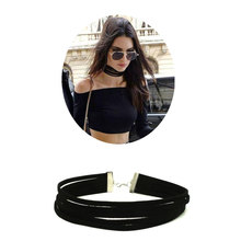 ZOEBER New Multilayer Necklace Collar Necklaces Torques Velvet 5 multi layer Choker Black Necklaces Punk Jewelry for women femme
