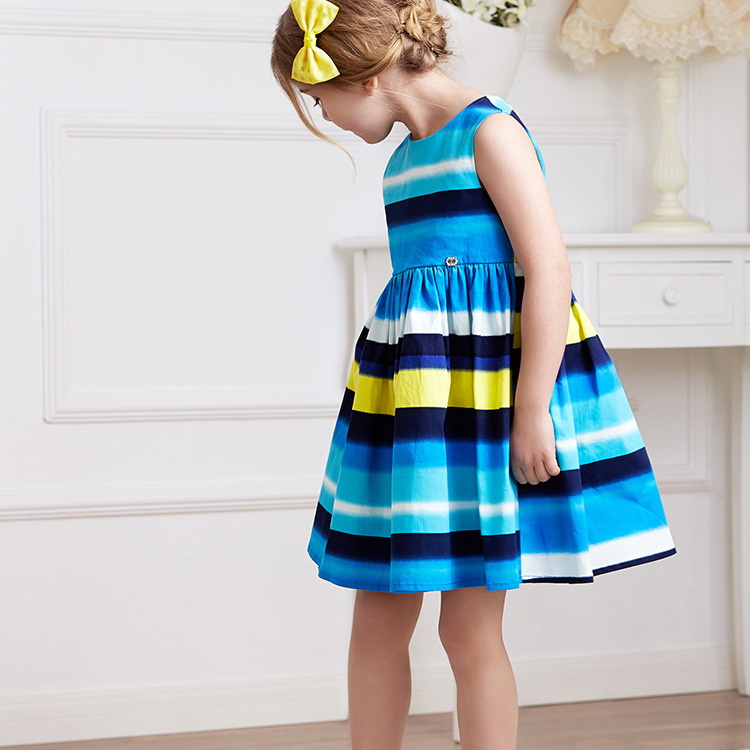 New Summer Girl Dress cotton blue striped Sundress Party Birthday Casual Children Clothes Size 2-8 years school clothing<br><br>Aliexpress