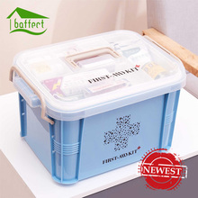 Newest Medicine Box First Aid Kit Box Plastic Container Emergency Kit Portable Multi-layer Large Capacity Storage Organizer(China)