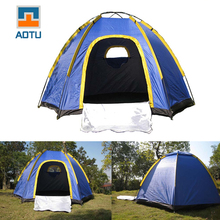 AOTU Hexagonal Camping Tent for 3-4 Persons UV-resistant Outdoor Hiking Travel Portable Beach Tent Sea Shelter Blue PU1200MM