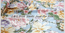Free shipping 100% mulberry silk farbic nature pure charmuse silk print printed peony fabric for dress bedding scraf  ls0709