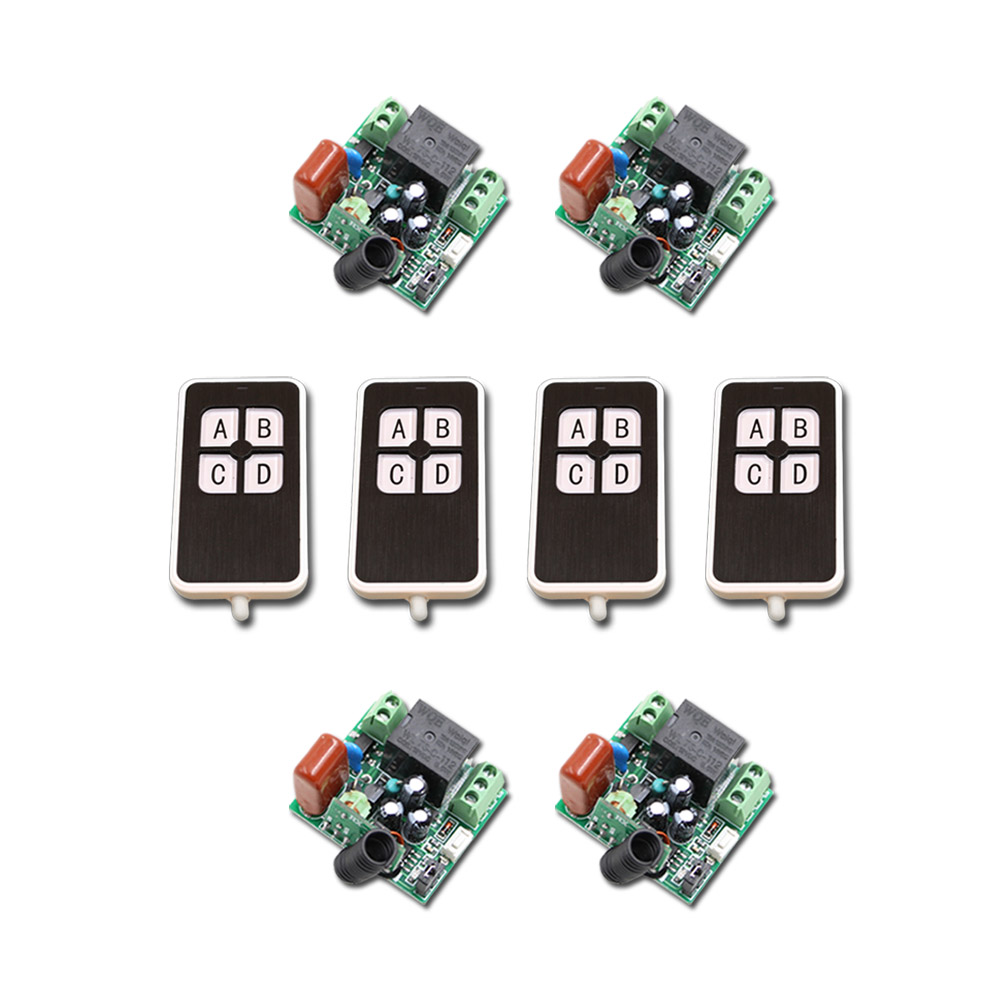 New AC220V Mini RF Wireless Remote Control Switch 4pcsTransmitter 1CH Relay Switches with 4pcs Receiver 315/433MHZ<br>