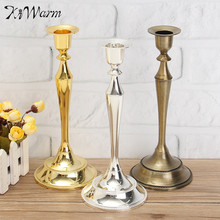 KiWarm Metal Candle Holders Stand Flowers Vase Candlestick Candelabra Wedding Event Party Home Candlelight Dinner Decoration
